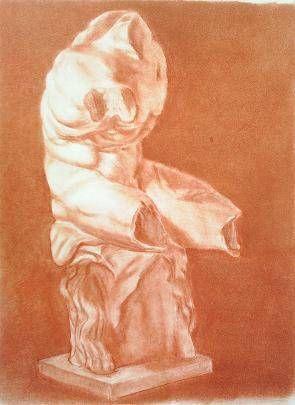 Dibujo a sanguina del torso de B.