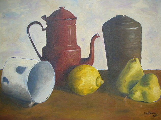 COMPOSICION CON JARRA ROJA Oil Panel Still Life Paintings