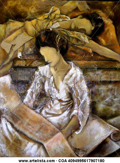 romanas leyendo Canvas Oil Figure Painting