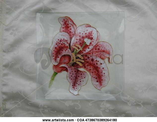 Lilium Floral De vidriera Cristal