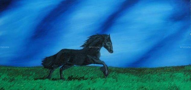 HORSE Óleo Tabla Animales