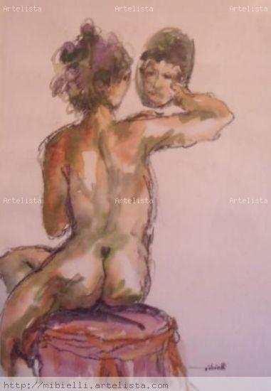 Nú com espelho Desnudos Papel Acuarela