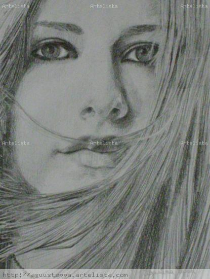 Retrato Avril Lavigne Carboncillo