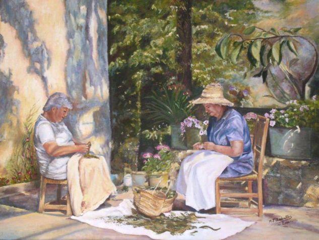 Mujeres trabajando al sol. Óleo Lienzo Paisaje