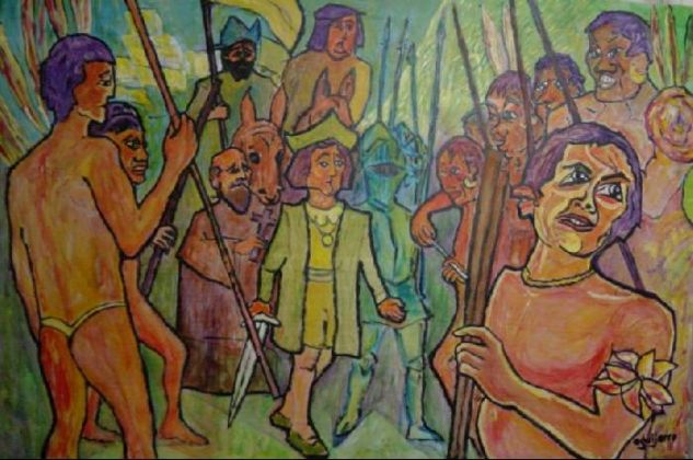 Cristobal Colón _ Colonización Acrílico Tabla Figura