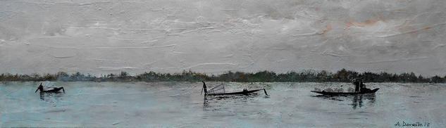 Pescadores, lago Inle en Birmania Paisaje Tabla
