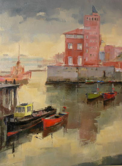 Puerto de Portugalete Oil Canvas Marine Painting