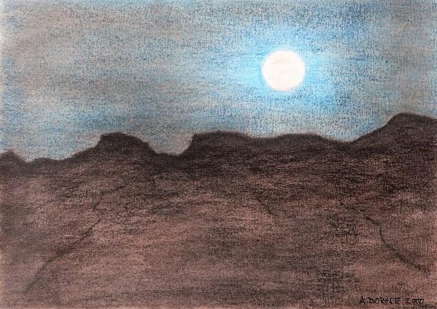 Luna llena Papel Pastel Paisaje