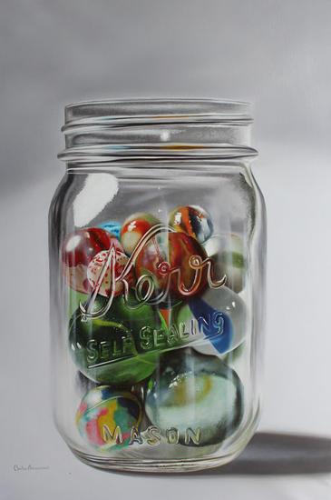 marbles and glass Lienzo Óleo Bodegones