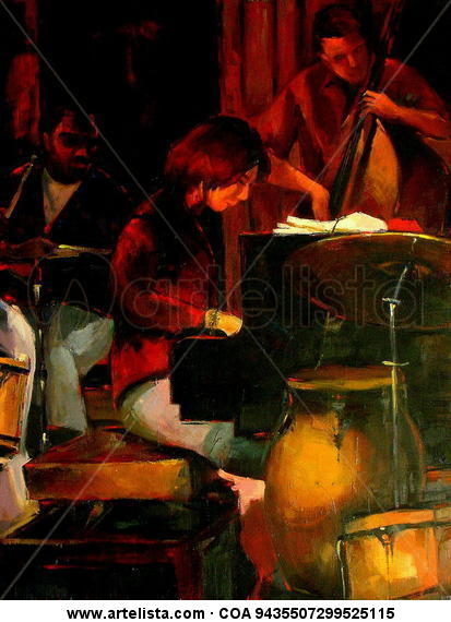 Jazz - Piano Canvas Oil Figure Painting