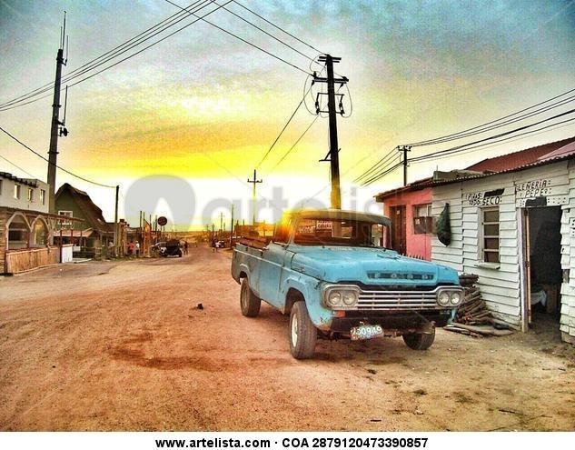 Camioneta Ford azul pueblo pesquero Color (Digital) Viajes