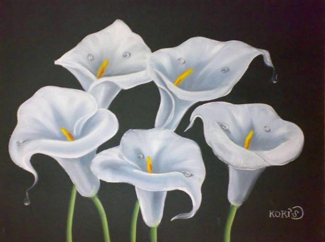 Calas Blancas Óleo Tela Floral