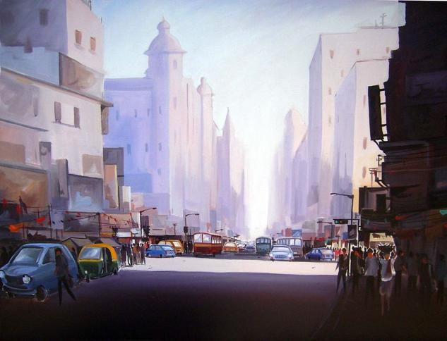 City at Early Morning Canvas Acrylic Others