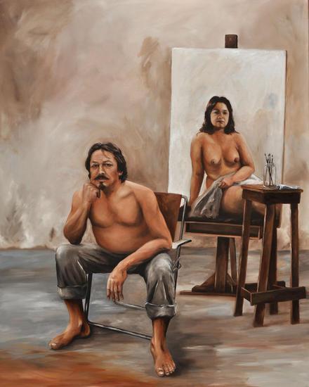 Autoretrato en reflexión Desnudos Óleo Lienzo