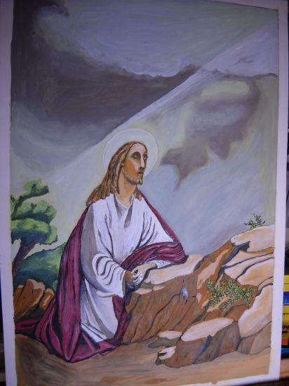 Jesus orando en el huerto Cartulina Óleo Figura