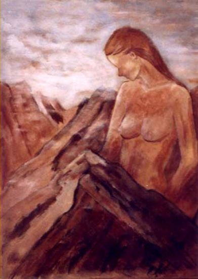Mujer montaña Óleo Lienzo Paisaje