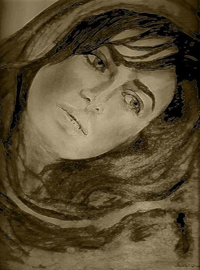 Iranian woman&#039;&#039;what about our rights&#039;&#039;drawing by shahrzad ranji Carboncillo
