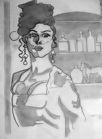 Dans le Moulin Rouge Papel Lápiz (Negro) Figura