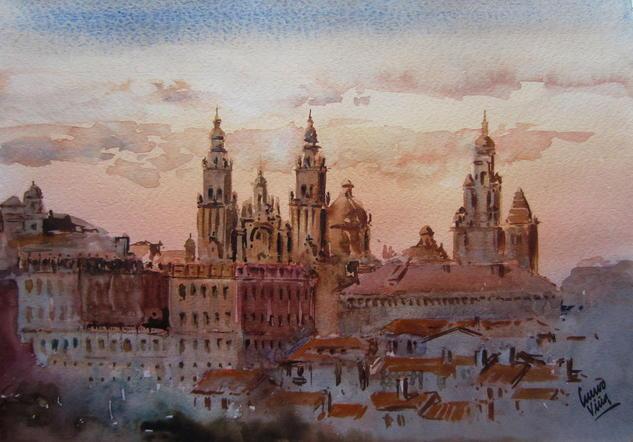 Santiago de Compostela Paisaje Acuarela Papel