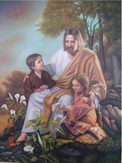 jesus y los niños Óleo Lienzo