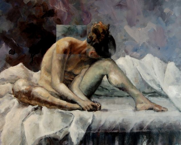 Noia al llit 002 Oil Canvas Nude Paintings