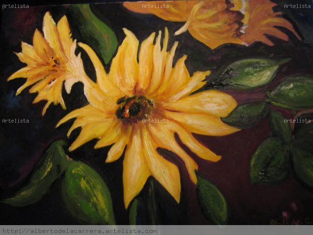 flores de topinambur Óleo Tela Floral