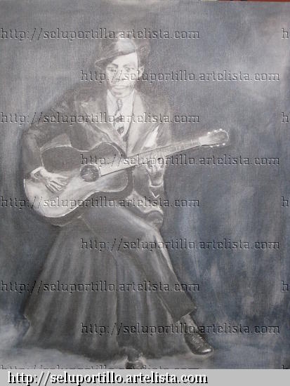 Robert Johnson Graphite Canvas Portrait
