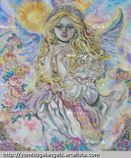 Yumi Sugai.Archangel Raphael.poster. Figure Painting Oil Canvas