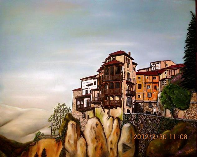 Casas colgadas de Cuenca Lienzo Óleo Paisaje