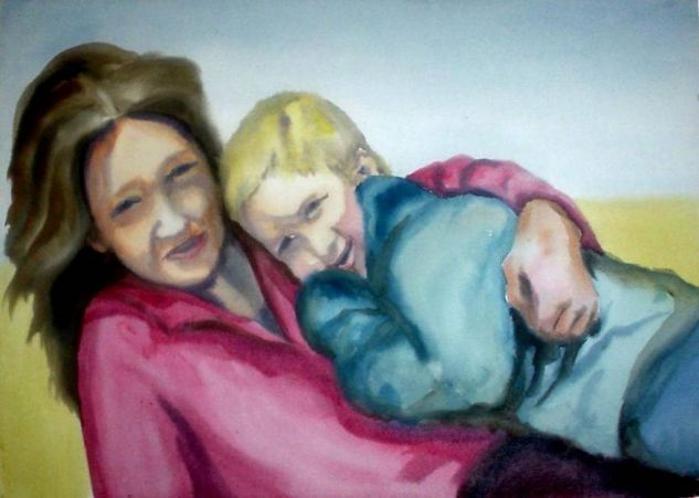 Madre e hijo Retrato Papel Acuarela
