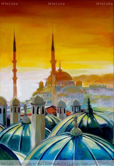 Estambul Canvas Oil Landscaping