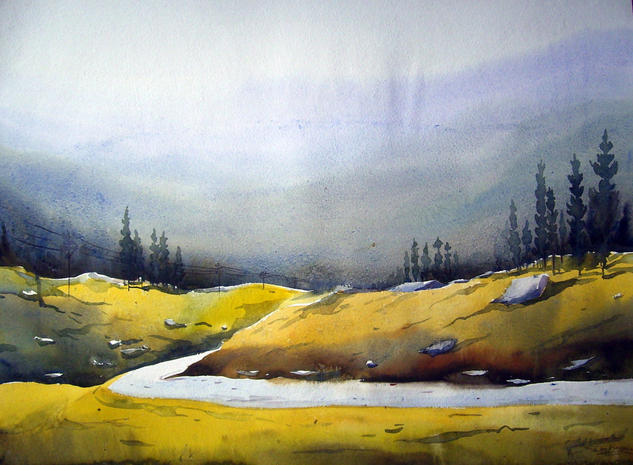 Mountain Path Watercolour Landscaping Paper