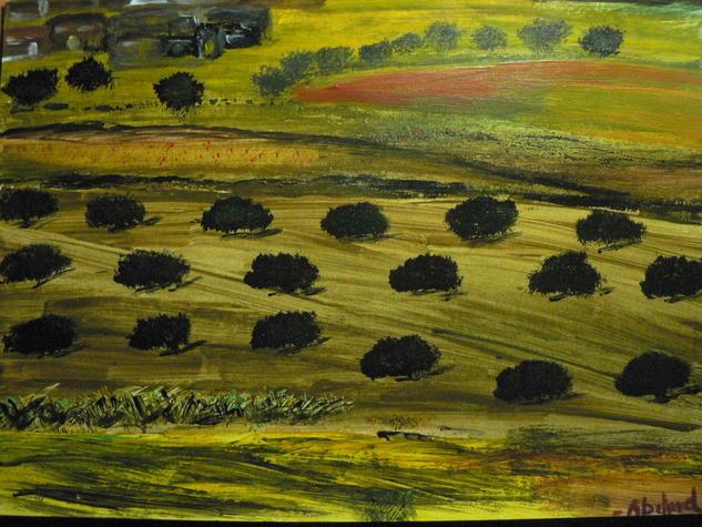 Campos de olivos Cartulina Acrílico Paisaje