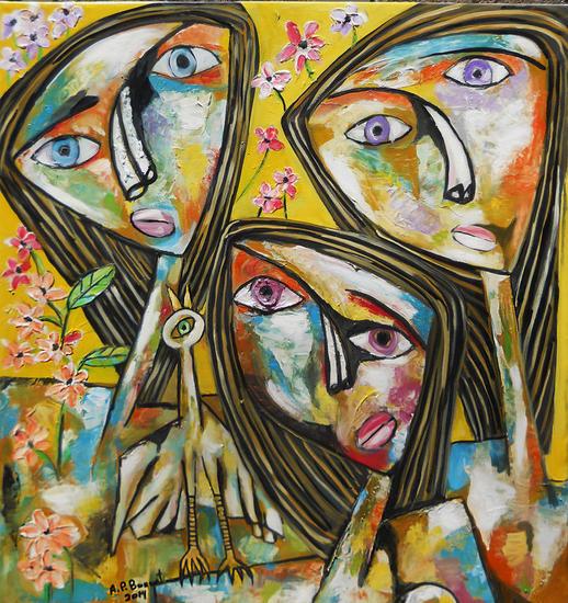tres rostros con ave