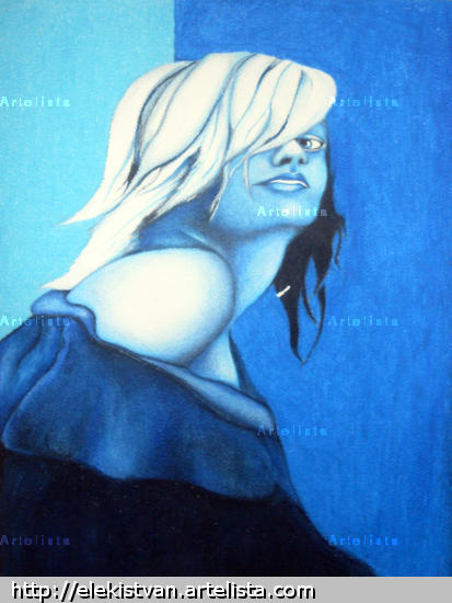 Woman In Blue Others Oil Canvas