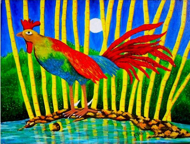 gallo cubano Óleo Lienzo Animales
