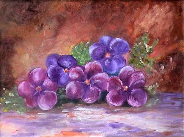 violetones Óleo Lienzo Floral
