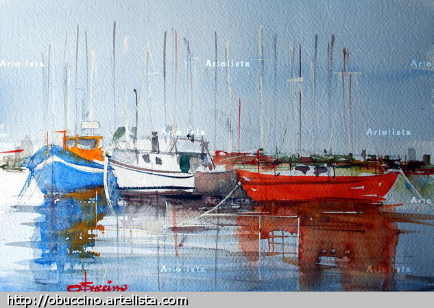 marina puerto Paper Marine Painting Watercolour