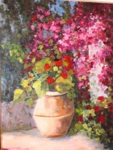 Tinaja con flores Óleo Lienzo Paisaje
