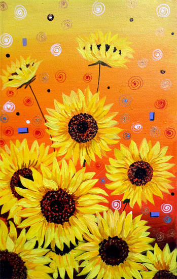 Sunflowers Beauty Canvas Floral Painting Acrylic