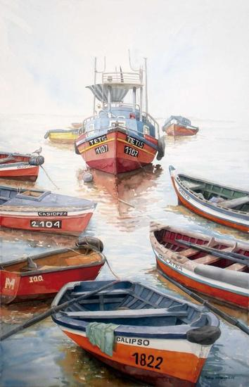 Los botes de Nereo Paper Watercolour Marine Painting