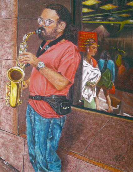 Saxofonista Paper Pastel Figure Painting