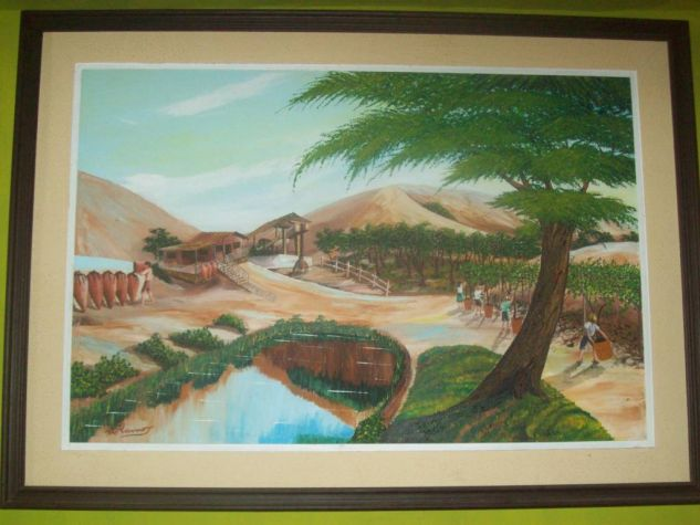 laguna de san pedro colecc colores de mi region de walter ramos  Óleo Lienzo Paisaje