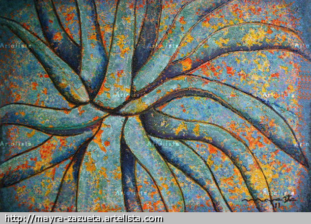 AGAVE AZUL PROFUNDO Canvas Mixed media Floral Painting