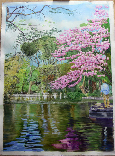 UN PARQUE DE MADRID (EL CAPRICHO) Paper Landscaping Watercolour