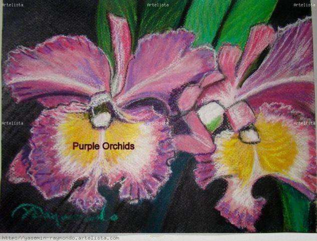 Purple Orchids Floral Papel Pastel