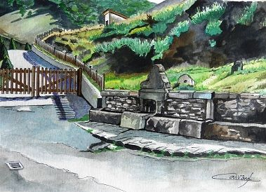 FUENTE ENTRADA DE CUENABRES Watercolour Card Landscaping