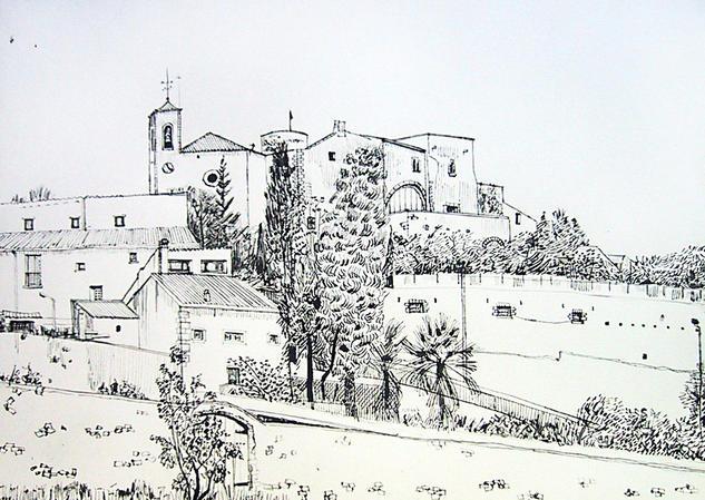 El campanario de Canyelles Paper Ink Landscaping