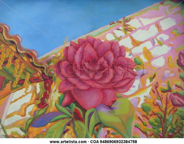 Una Rosa en el jardín Lienzo Óleo Floral