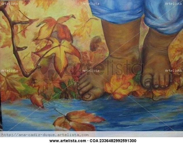 Piececitos en otoño Acrílico Lienzo Figura